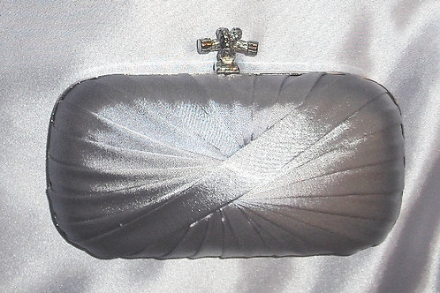 Small Hard cased Silver Grey Satin Clutch Bag