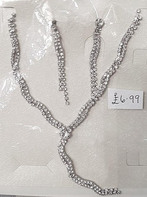 Silver Rhinestone Earrings & Necklace Wave set