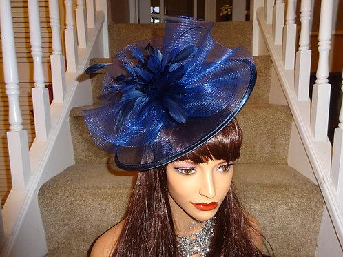 Navy Blue Sheer Fascinator Hat on Band