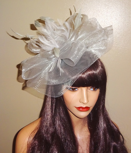 54668348 Silver Grey lightweight Crin Fascinator Hat on comfortable Band 111818