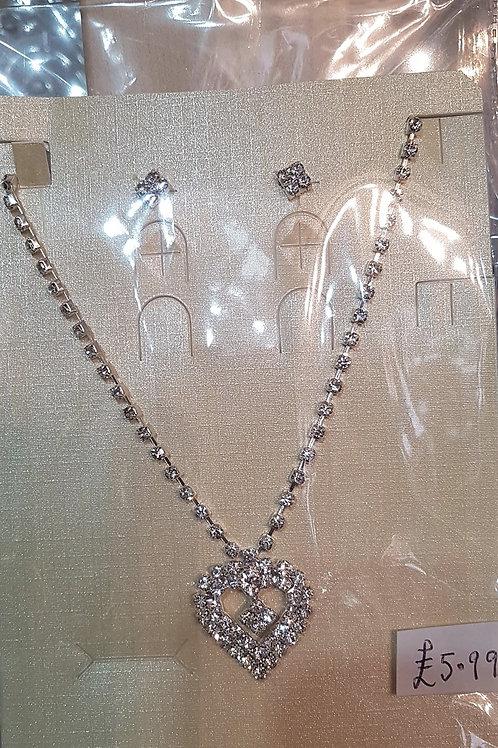 Silver Rhinestone Earrings & Heart Necklace set