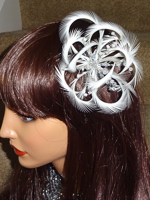 Light Silver Looped Fascinator Comb with Beading 99894712