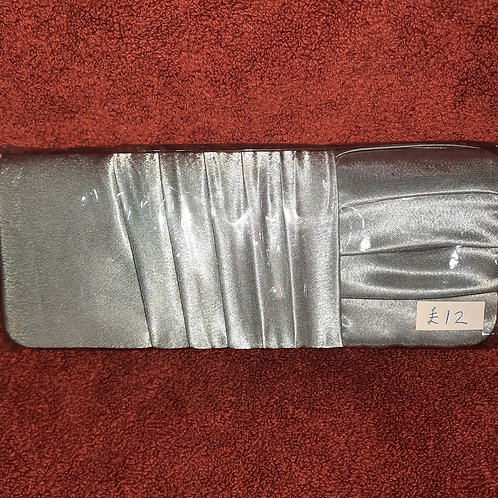 Silver satin clutch bag with strap 07062111