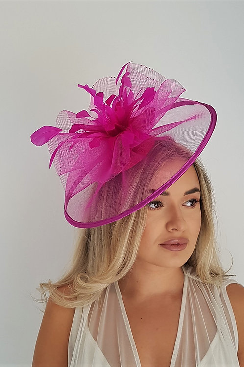 Vivid Pink Crin Fascinator Hat trimmed with satin on a band 1839123