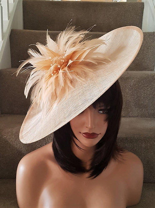 Large Exclusive pale Peach Hat on band with crystals 8855772