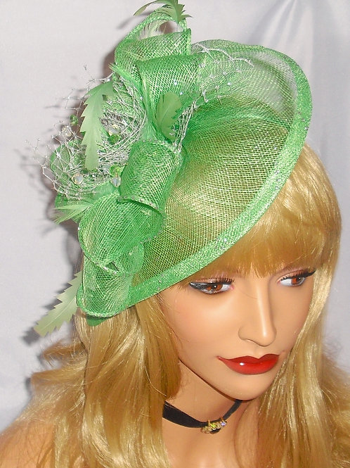 Green Teardrop Fascinator Hat on Band