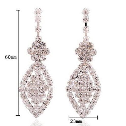 Silver Rhinestone Crystal Drop Earrings (Pierced)