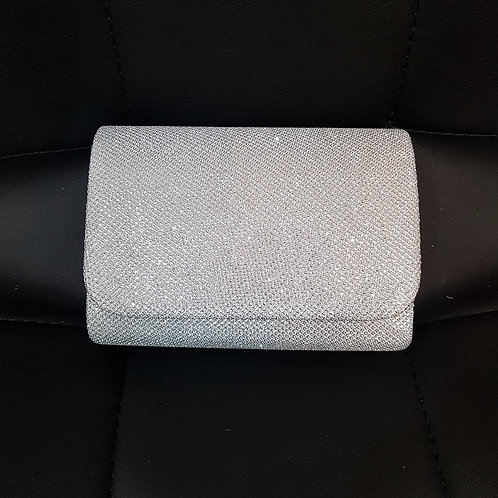 Small sparkly silver bag with strap