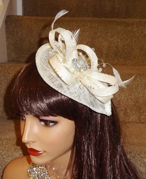 fca6f9c2bf62a Cream & silver Sinamay Fascinator on band