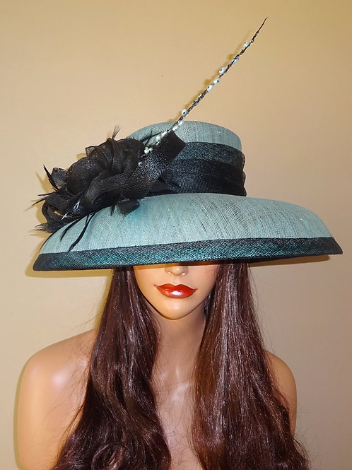 Light Teal and Black Hat with quill feather 333653
