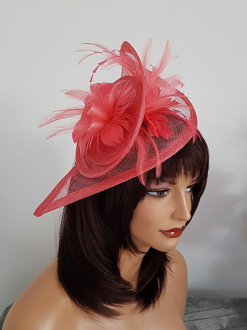 Deep Coral Teardrop Fascinator Hat on a Band 807060