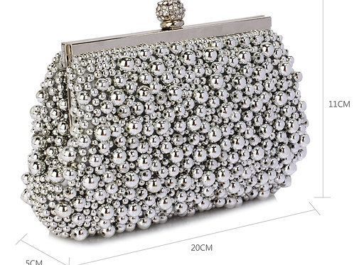 Silver Beaded Bag with chain strap 382890