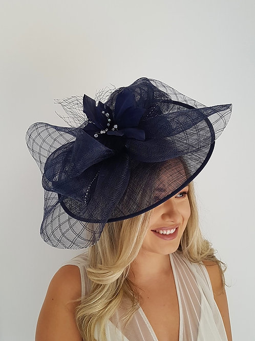Navy Blue Hat with crin, crystals and silver sparkle on a band