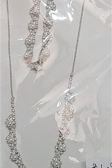 Silver Rhinestone Crystal & Earrings set 995532