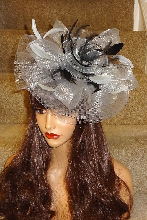 Silver & Black Fascinator Hat on band 181856