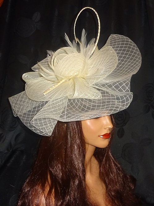 Large Crin Fascinator on band with curled quill 299909
