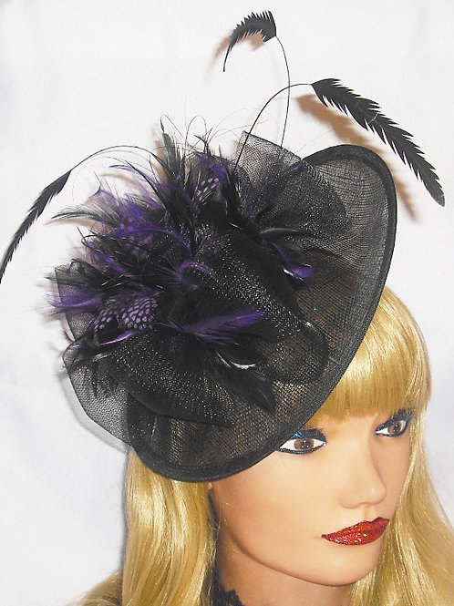 Purple & Black Saucer Hat Fascinator on Band