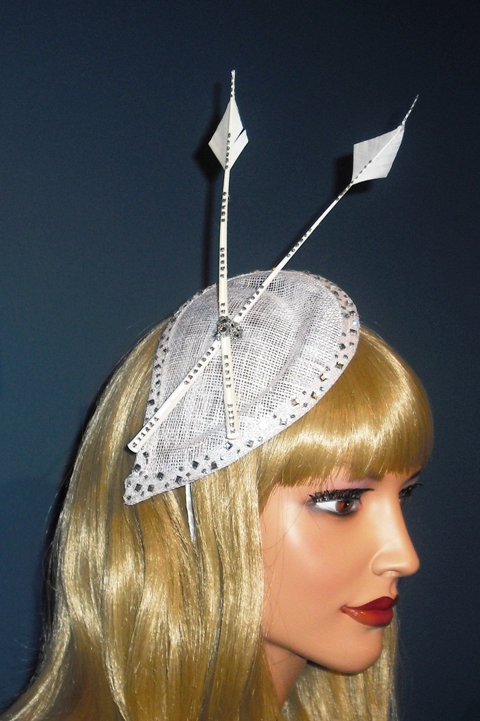 Cream & Silver Arrow Feather Fascinator on diamante Teardrop Base on band