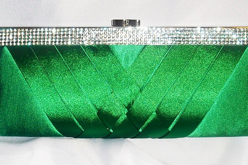 Emerald Green Clutch Bag with Rhinestone Trim