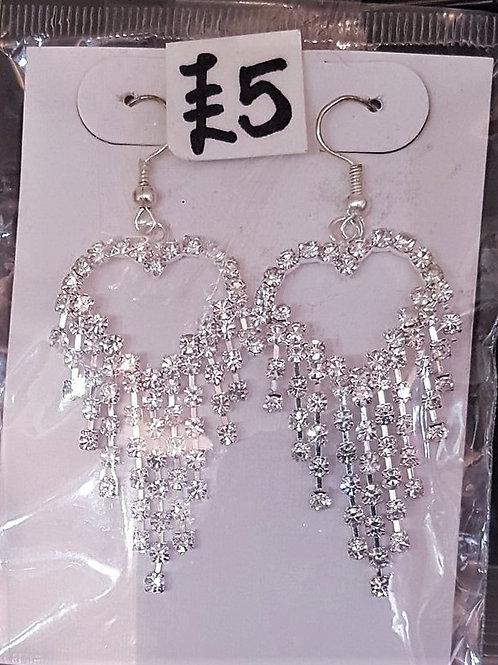 Heart Rhinestone Earrings for pierced ears