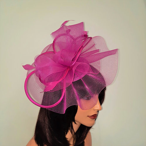 Hot Pink Cerise, Fuschia Crin Fascinator with satin loopson a band 100621