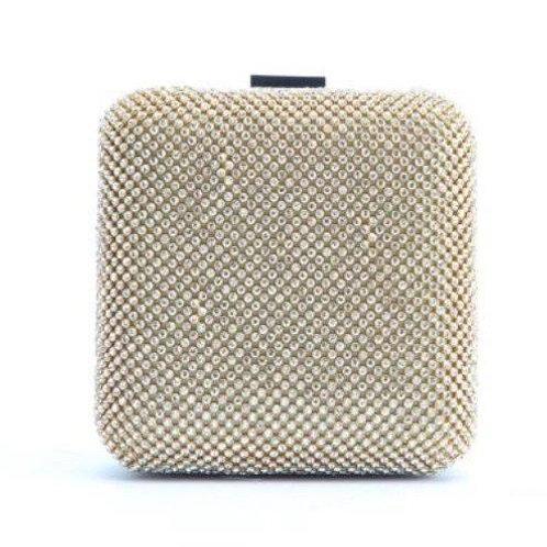 Gold Rhinestone Hard cased Clutch Bag