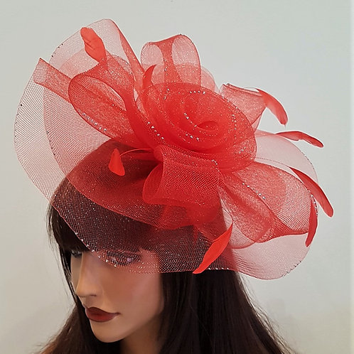 Red Hatinator Fascinator Hat with tiny silver sparkly dots on a band 188871