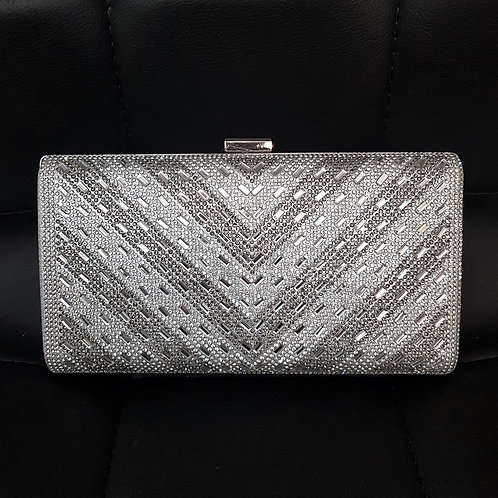 Silver & Grey sparkly hard cased clutch Bag with strap 4598336