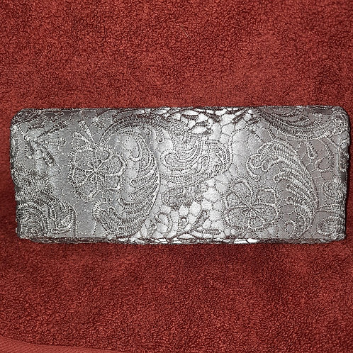 Silver Grey Lacey covered Clutch Bag with chain strap 070621
