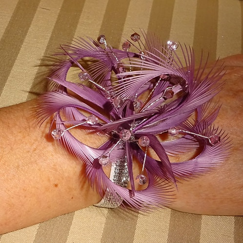 Heather / Light Plum Wrist Corsage on elasticated band with crystals