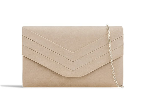 Nude Beige suede effect clutch Bag with strap 100621