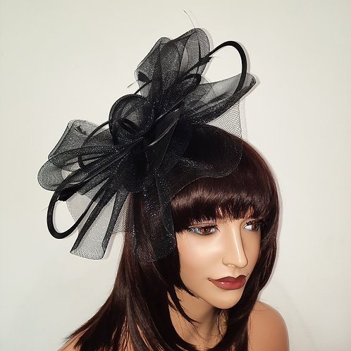 Black Crin Fascinator Hat with satin loopsmounted on to a band 100621