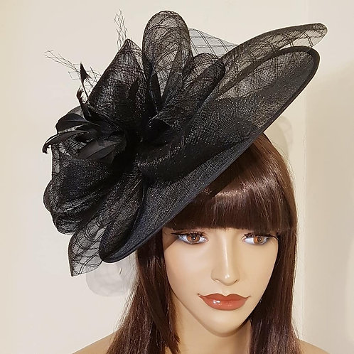 Black Hat with Feather Flower detail on a band 963258