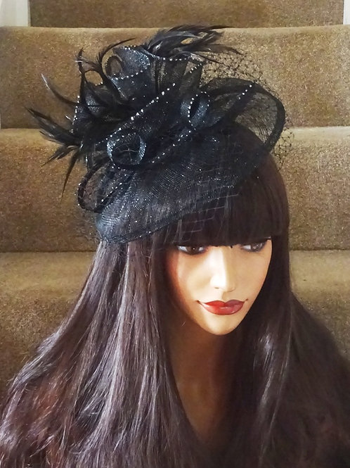 Black & Silver Fascinator Hat with sparkly dots (on a band) 12334
