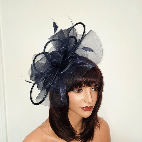 Navy BlueCrin Fascinator Hat with satin loopsmounted on to a band 100621