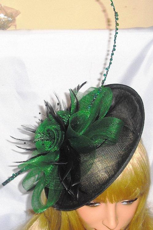 Deep Emerald Green & Black Saucer Hat beaded Quill