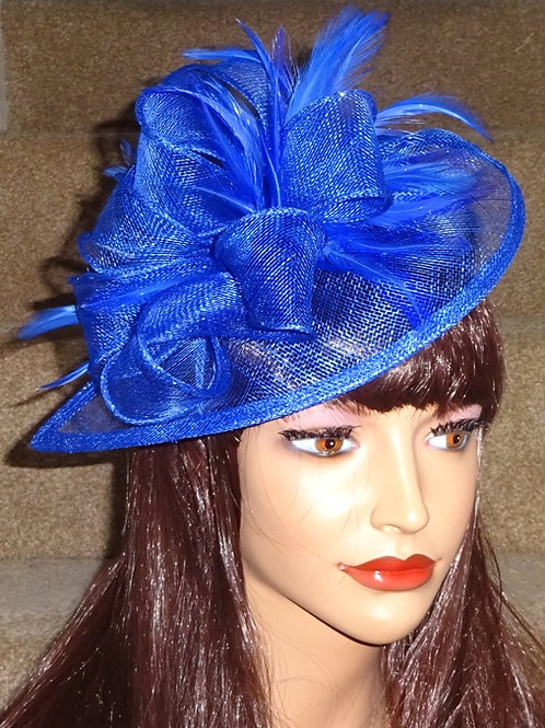 Cobalt Blue sinamay Teardrop Facinator Hatinator Hat on Band 95673