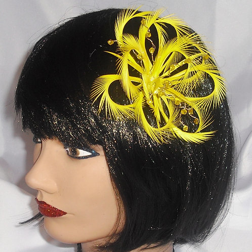 Yellow Looped Fascinator on comb