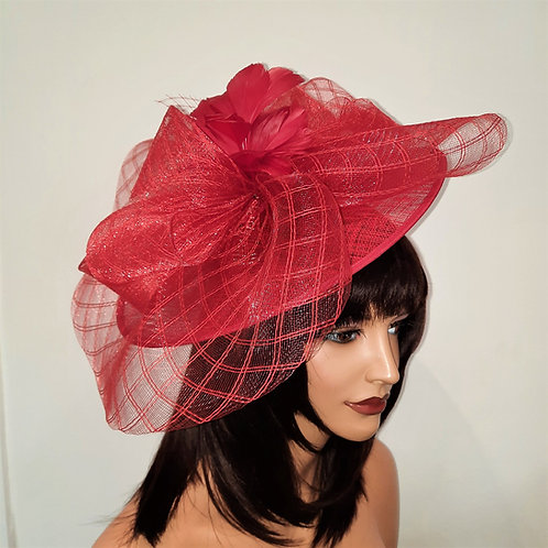 Large Red Hat with Crin and Feather Top mounted on to a band 100621