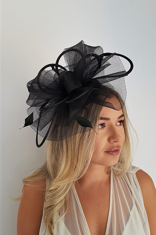 Black Crin Fascinator hat with satin loops on a band