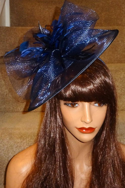 Navy Blue Fascinator Hat with shades of darker blue Feathers on band 009090
