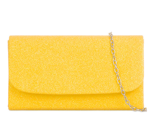Small Yellow sparklyclutch Bag withstrap 100621