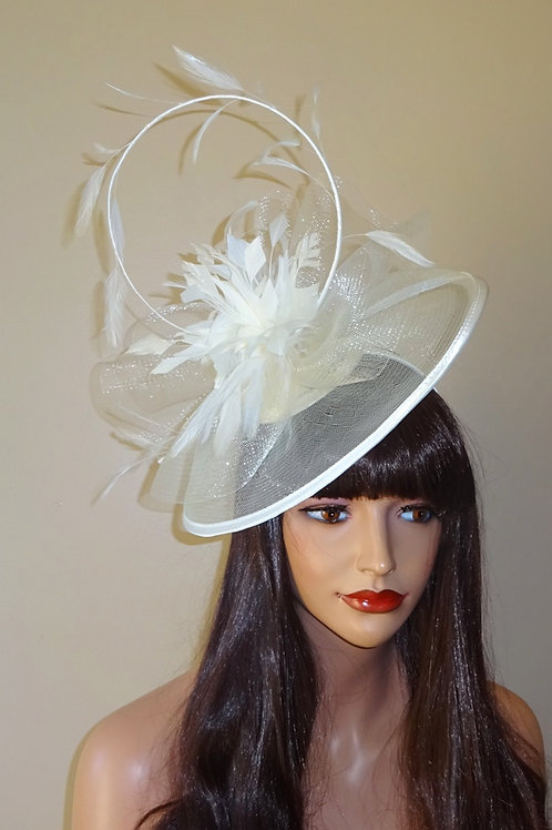 Ivory Sheer Hatinator Hat on Band with curled Quill 188989