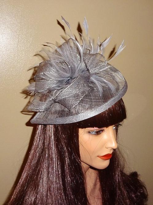 Gunmetal Grey / Dark Silver Teardrop Fascinator Hat on Band 754632