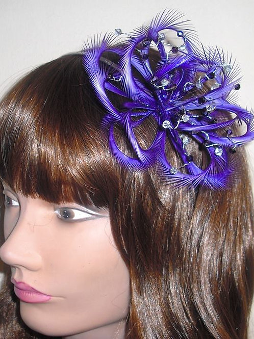 Purple Looped Fascinator comb with Crystals