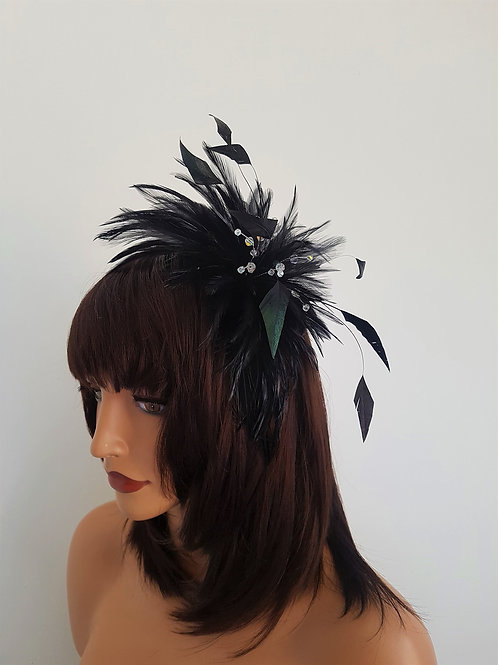 Black Feather fascinator Comb with Crystals 65109