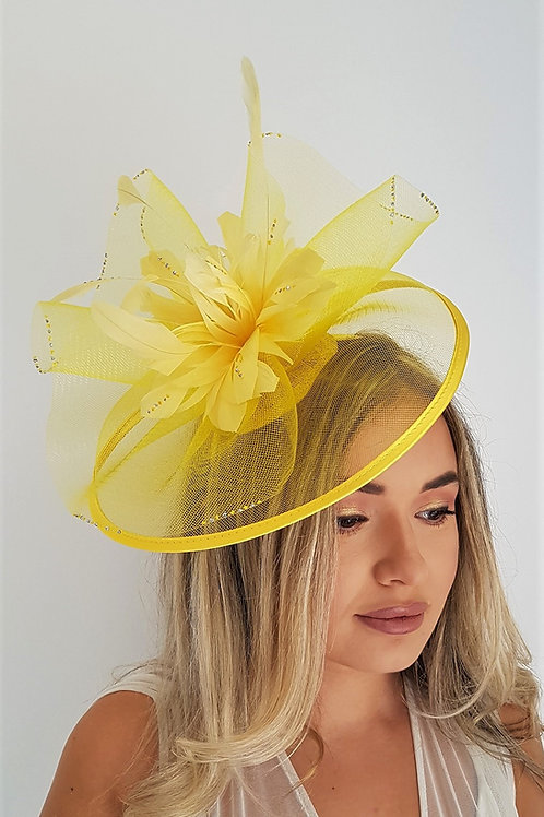 Yellow Crin Fascinator Hat on a band 1827455