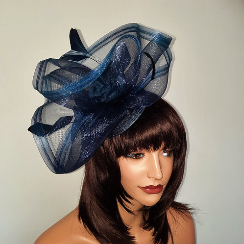 Navy Blue Crin Wave Fascinator on a band 300721