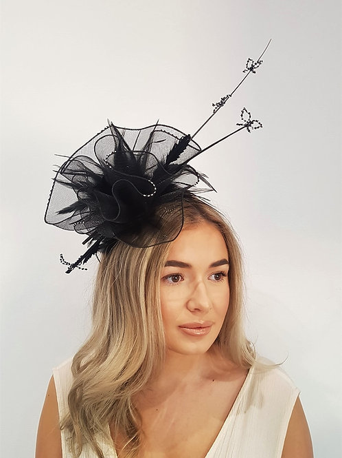 Black & Silver Fascinator band with handmade bows