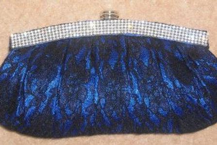 Cobalt Blue & Black Lace Diamante Clutch Bag